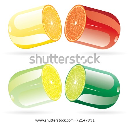 vector symbolic illustration with pills with citrus fruits - stock vector