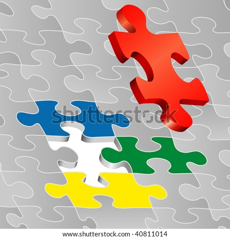 vector symbolic illustration with puzzle - stock vector