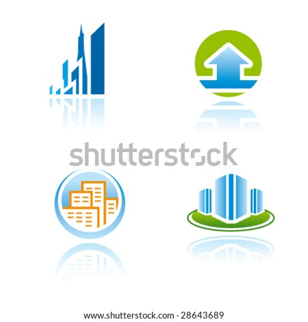 Vector symbols (icons, signs, logos) for construction, real estate industry or other - stock vector