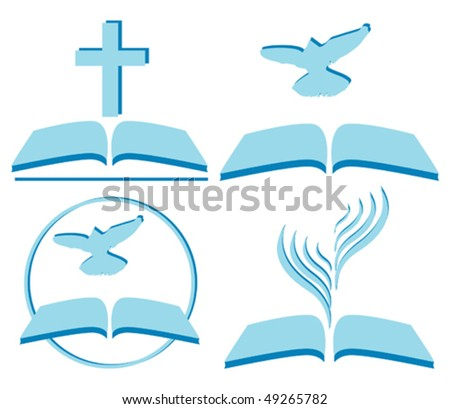 vector symbols of Christianity, several options - stock vector