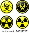Vector symbols of radiation - stock photo