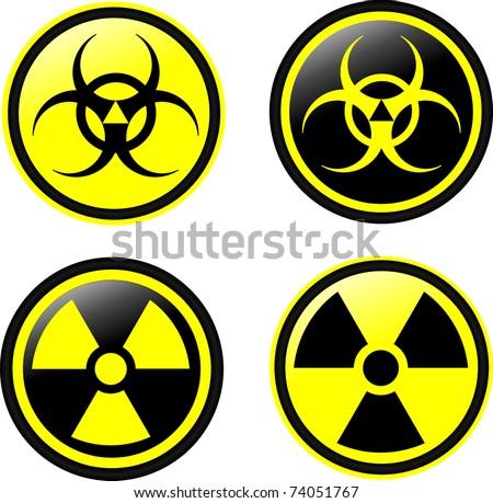 Vector symbols of radiation - stock vector
