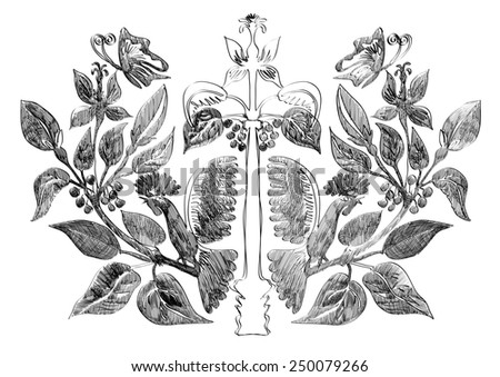 Vector symmetric ornament with butterfly and rooster on the berry plants - stock vector