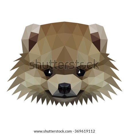 Vector symmetrical illustration of a pomeranian spitz dog on a white background. Made in low poly triangular style. - stock vector