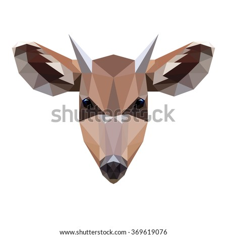 Vector symmetrical illustration of a roe deer on a white background. Made in low poly triangular style. - stock vector
