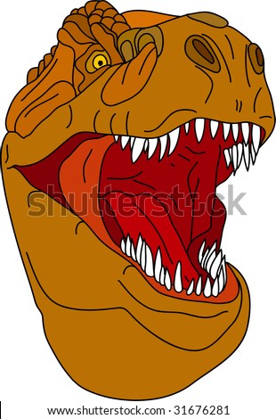 vector - t - rex head isolated on background - stock vector