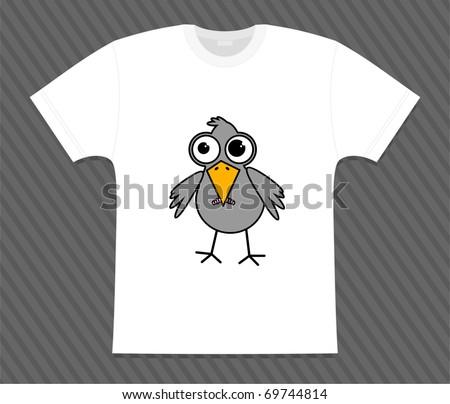 Vector. T-shirt little bird - stock vector