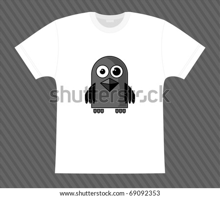 Vector. T-shirt. Little raven - stock vector