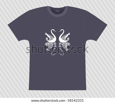 Vector. T-shirt. Romance at swans - stock vector