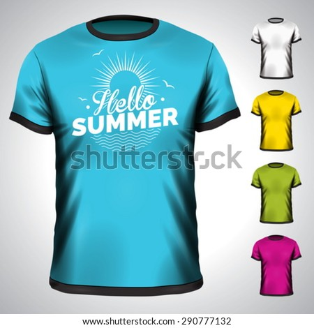 Vector t-shirt set with summer holiday illustration. EPS 10 design. - stock vector