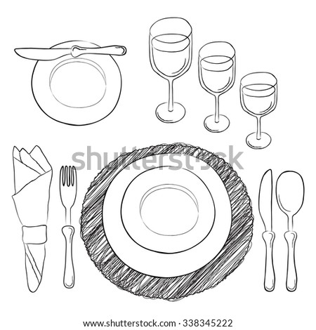 Vector table setting. White and clear tableware and eating utensils are set at the table for serving. - stock vector