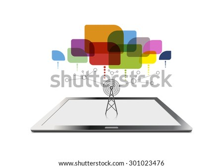 vector tablet computer internet signal and social