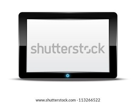 vector tablet computer with isolated background - stock vector