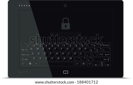 Vector Tablet Frontal View - Vector illustration of a tablet in high detail. File type: vector EPS AI8 compatible.   - stock vector