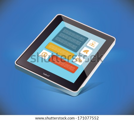 Vector Tablet PC on blue background - stock vector