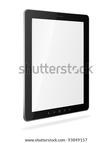 Vector tablet pc with empty white screen and black frame. Object isolated of background. EPS8 editable illustration - stock vector