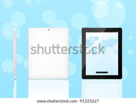 Vector tablet pc with map of screen and black frame. Front, back and side view. EPS8 editable