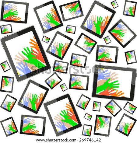 vector Tablet pc with people hand on screen, vector technology pattern - stock vector