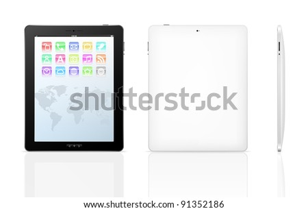 Vector tablet pc with set icons on a screen and black frame. Object isolated of background. Front, back and side view. EPS8 illustration - stock vector