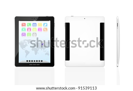 Vector tablet pc with set icons on a screen and black frame.  Object isolated of background. Front, back and side view. EPS8 illustration