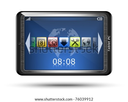 Vector Tablet PC with touch screen. Original design - stock vector
