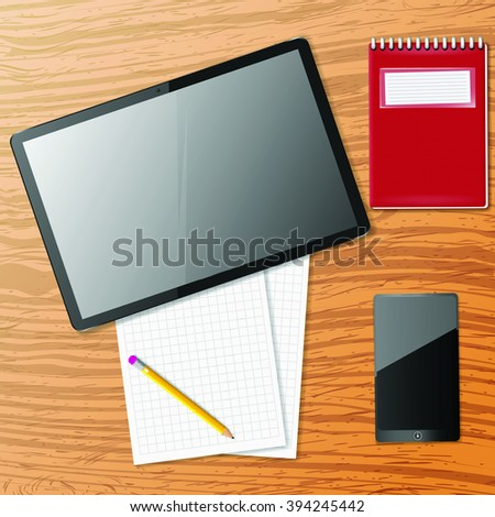 Vector tablet,phone and note paper on wooden table - stock vector