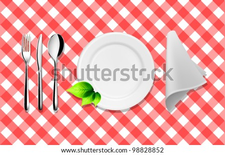Vector Tableware Design with Leaf