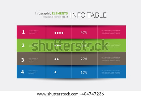 vector tabular graphic for summary with columns and rows / report infographic table options 4  - stock vector