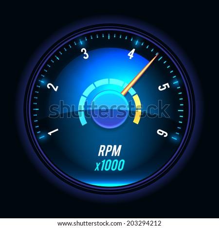 Vector tachometer. glossy style modern unusual illustration. - stock vector