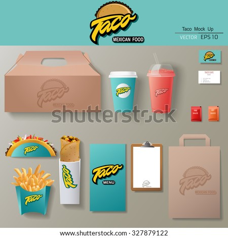 Vector tacos corporate identity template design set. Branding mock up. - stock vector