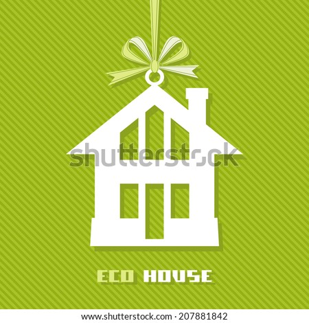 Vector tag eco house. Green icon real estate for sale. Sign for business card of realtor agency. Illustration for print, web - stock vector