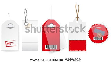 Vector tag label , red and white set , all elements grouped, easy to replace