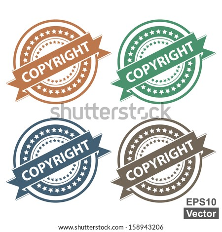 Vector : Tag, Sticker, Label or Badge For Product Certification or Product Verification Present By Colorful Copyright Ribbon on Colorful Icon Isolated on White Background  - stock vector