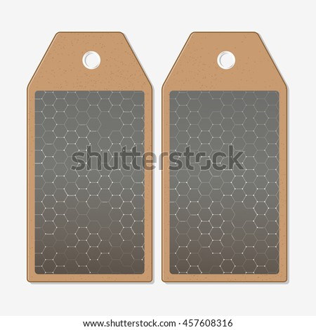 Vector tags design on both sides, cardboard sale labels. Chemistry pattern, hexagonal design vector illustration - stock vector