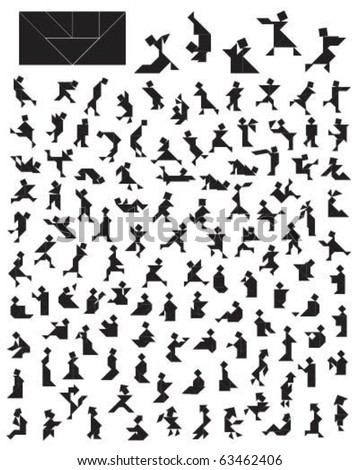 Vector Tangram Puzzle People Collection - elements for art and design from China (Chinese) (tea ceremony, rest, sport, dancing, hunting, skating, reading, thinking, workout, restful, athlete etc) - stock vector