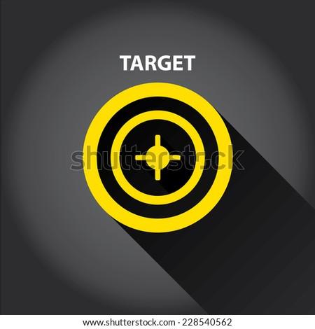 vector target icons . vector flat orange target on black background. design element for web and logo design - stock vector