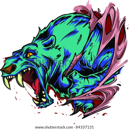Vector Tattoo Angry Bear