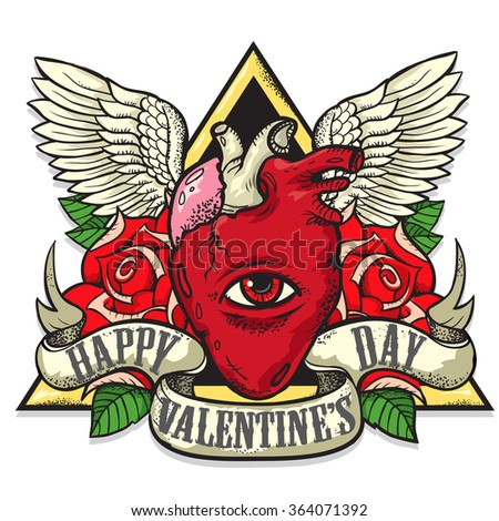 Vector tattoo-art on the theme of Valentine's Day. Tattoo-art design.Wings,roses and Human heart. Eye of Providence. Hand-drawn vector images. Good for printing on t-shirt. Easy to edit..Tattoo font.