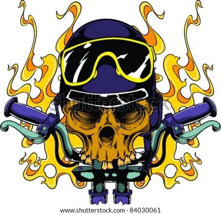 Vector Tattoo Biker Skull - stock vector