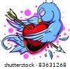 Vector Tattoo Bird - stock photo