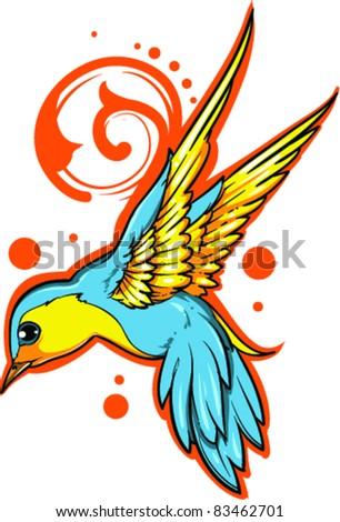 Vector Tattoo Bird - stock vector