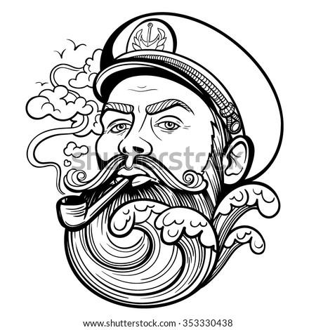 stock vector vector tattoo black and white captain illustration 353330438