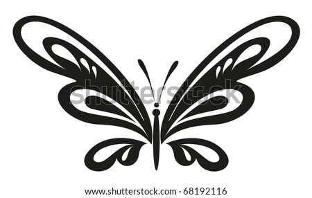 vector tattoo - black butterfly - stock vector