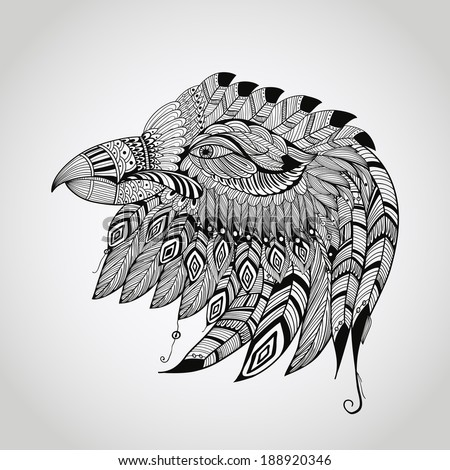 vector tattoo black  hand drawn, highly detailed eagle head, native american style - stock vector