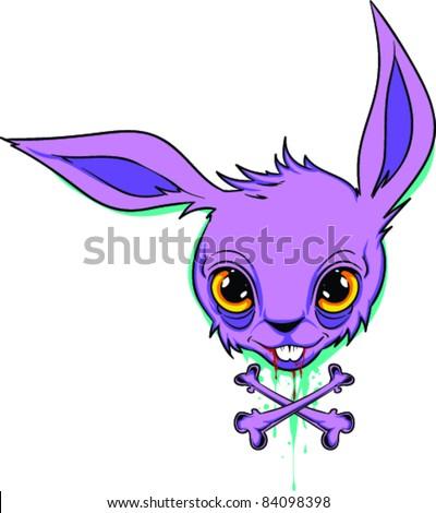 Vector Tattoo Creepy Bunny - stock vector