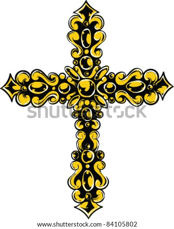 Vector Tattoo Cross - stock vector