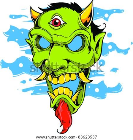 Vector Tattoo Devil - stock vector