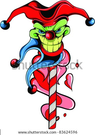 Vector Tattoo Evil Joker - stock vector