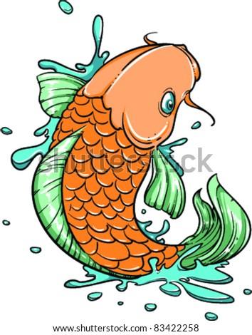 Vector Tattoo Fish - stock vector