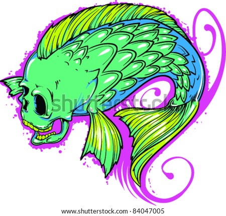 Vector Tattoo Fish - stock vector